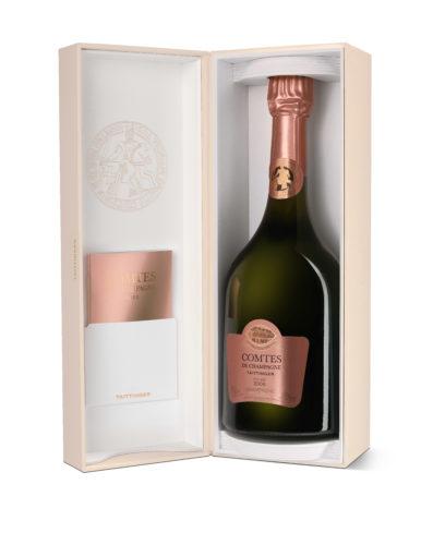 Taittinger Comtes Rosé gift box open